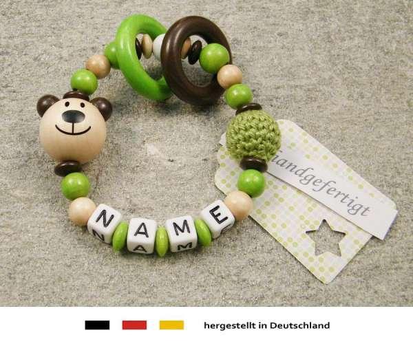 Greifling geschlossen mit Namen – Bär in natur grün
