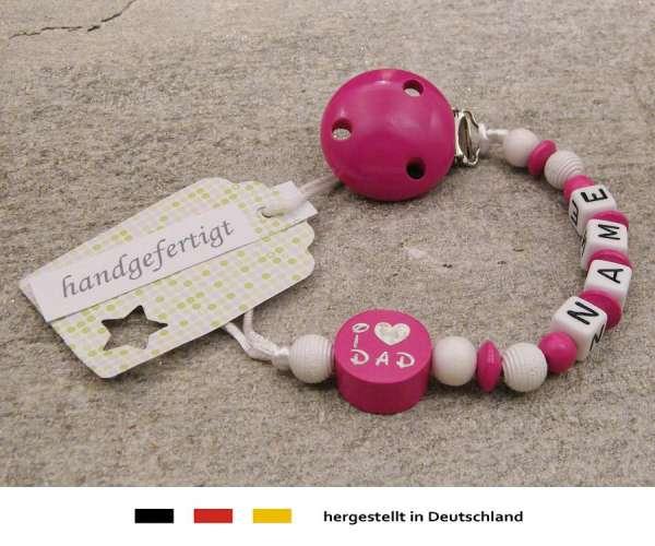 Schnullerkette mit Wunschnamen Motiv i love dad / mom in pink