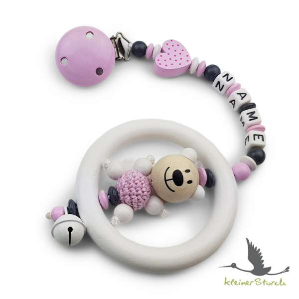 Kinderwagenkette mit Wunschnamen Bär und Herz in rosa