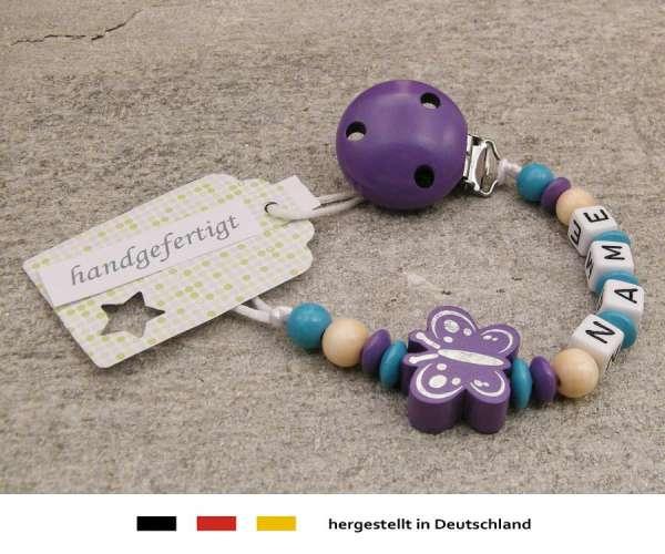 Schnullerkette mit Wunschnamen Motiv Schmetterling in lila