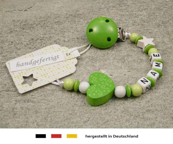 Schnullerkette mit Wunschnamen Motiv Ornament in lemon grün