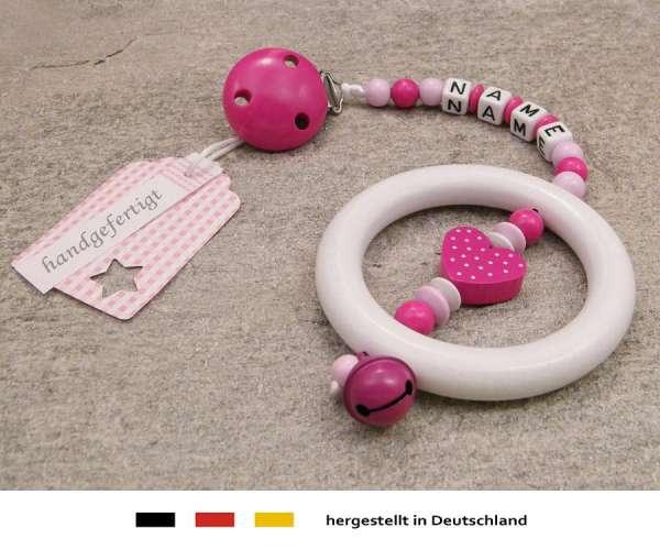 Kinderwagenkette mit Wunschnamen Herz in pink