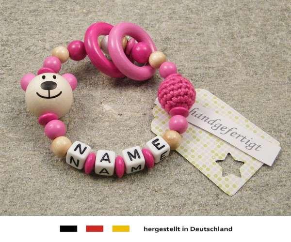 Greifling geschlossen mit Namen – Bär in pink
