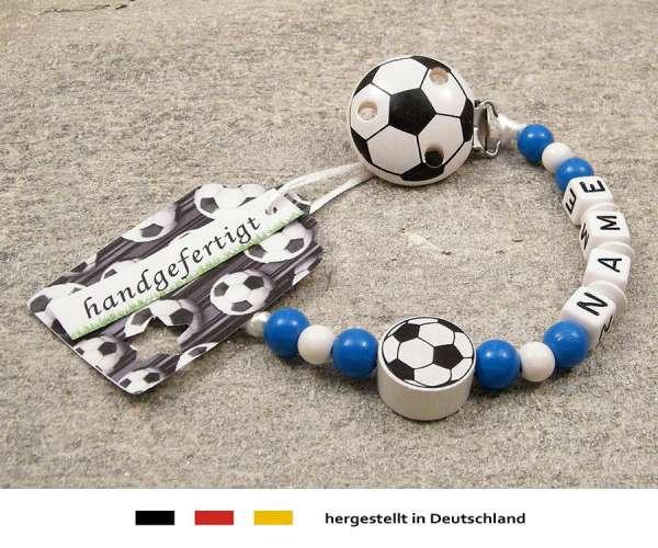 Schnullerkette mit Wunschnamen Motiv Fussball in blau, weiss