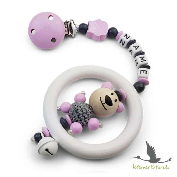 Kinderwagenkette mit Wunschnamen Bär und Eule in rosa