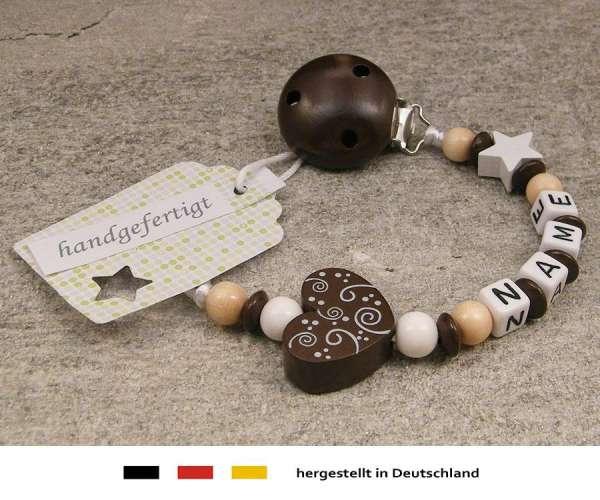 Schnullerkette mit Wunschnamen Motiv Ornament in braun