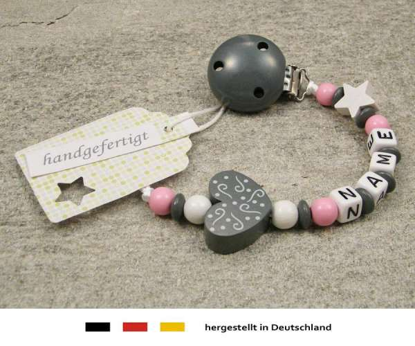Schnullerkette mit Wunschnamen Motiv Ornament in grau