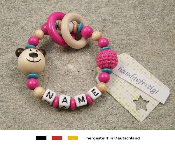 Greifling geschlossen mit Namen – Bär in natur pink