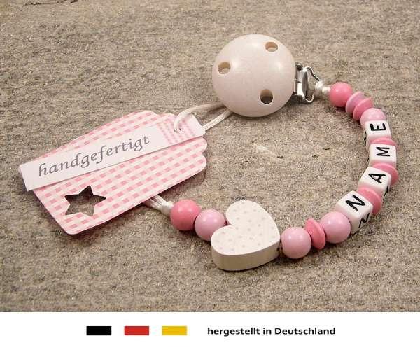 Schnullerkette mit Wunschnamen Motiv Herz in weiss, rosa