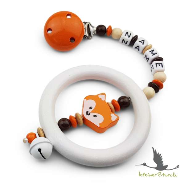 Kinderwagenkette mit Wunschnamen Fuchs in orange