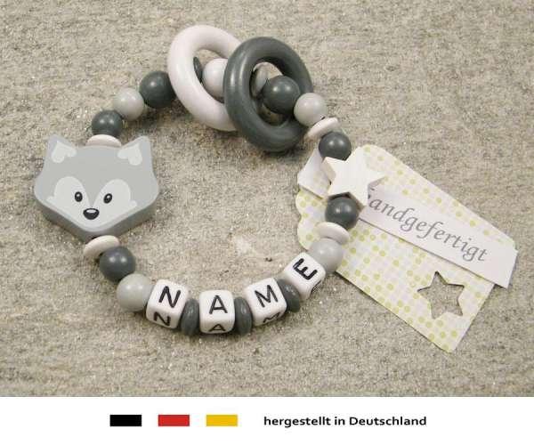 Greifling geschlossen mit Namen – Fuchs in grau