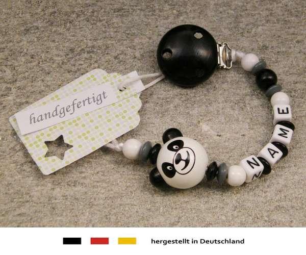 Schnullerkette mit Wunschnamen Motiv Panda Bär in schwarz