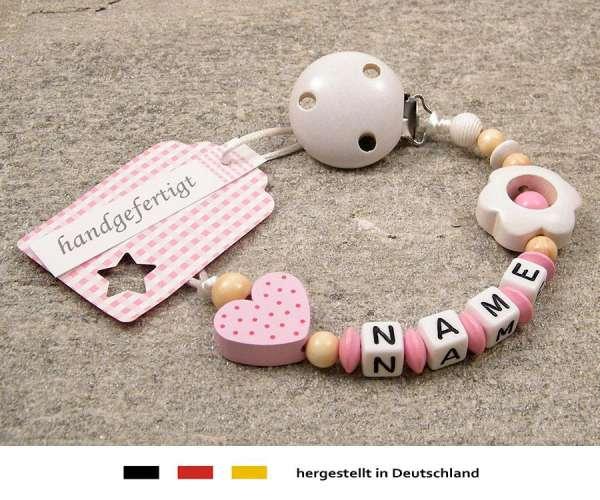 Schnullerkette mit Wunschnamen Motiv Herz & Blume in rosa