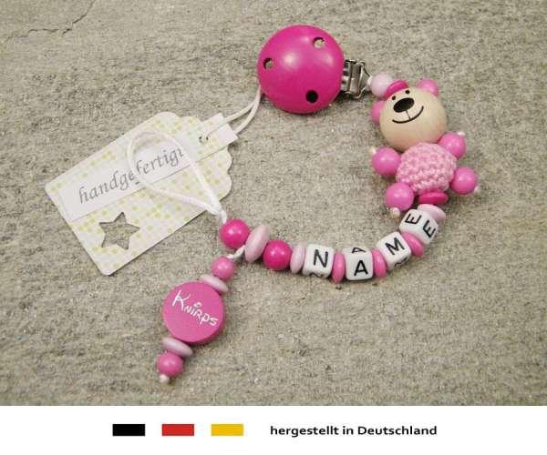 Schnullerkette mit Wunschnamen Motiv Bär und Knirps in pink