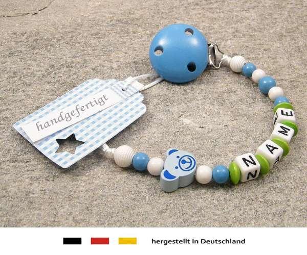 Schnullerkette mit Wunschnamen Motiv Bärchen in hellblau