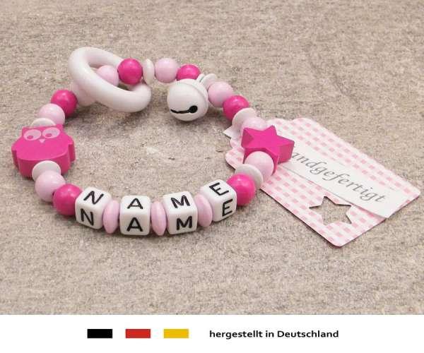 Greifling geschlossen mit Wunschnamen Motiv Eule in pink