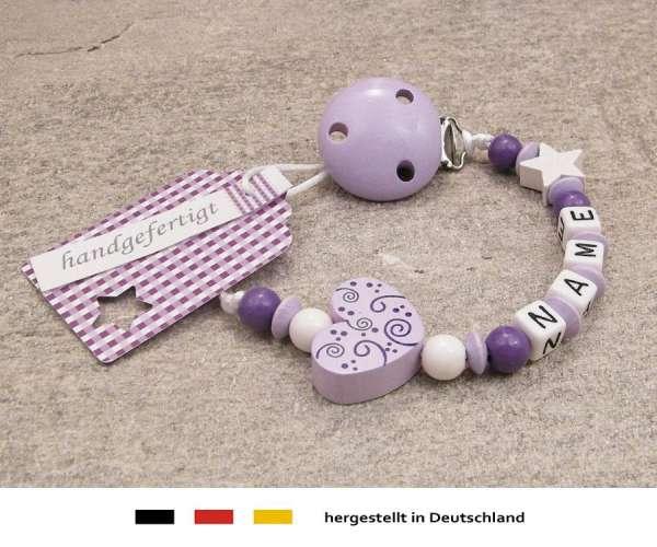 Schnullerkette mit Wunschnamen Motiv Ornament in flieder