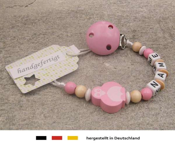 Schnullerkette mit Wunschnamen Motiv Pinguin in rosa