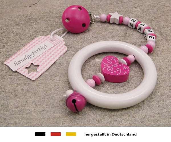 Kinderwagenkette mit Wunschnamen Ornament in pink