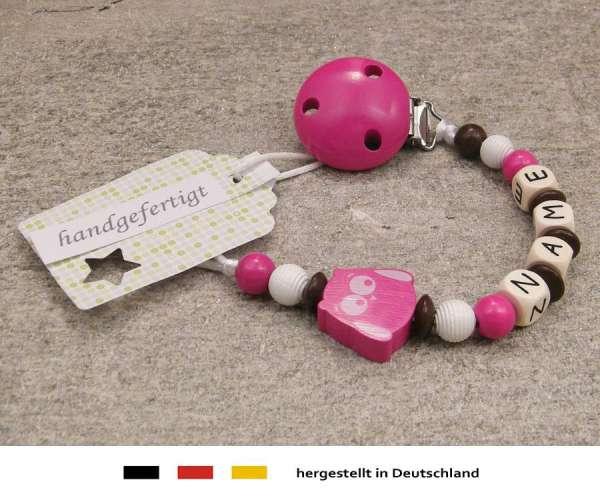 Schnullerkette mit Wunschnamen Motiv Eule in pink
