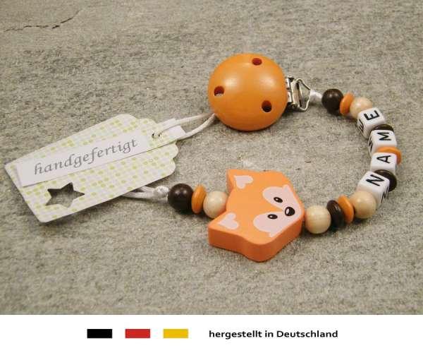 Schnullerkette mit Wunschnamen Motiv Fuchs in orange