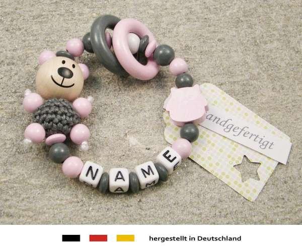 Greifling geschlossen mit Namen – Bär und Eule in rosa