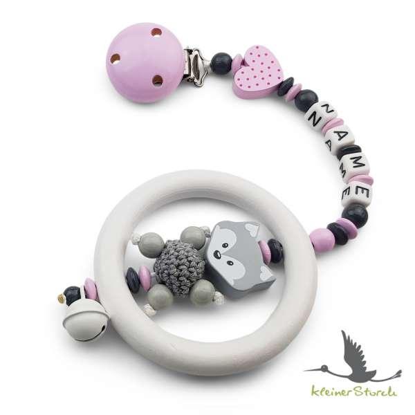 Kinderwagenkette mit Wunschnamen Fuchs und Herz in grau rosa