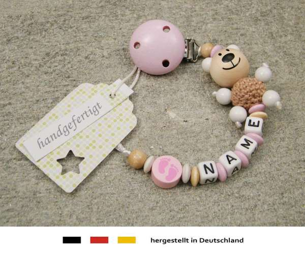 Schnullerkette mit Wunschnamen Motiv Bär und Babyfuss in pink