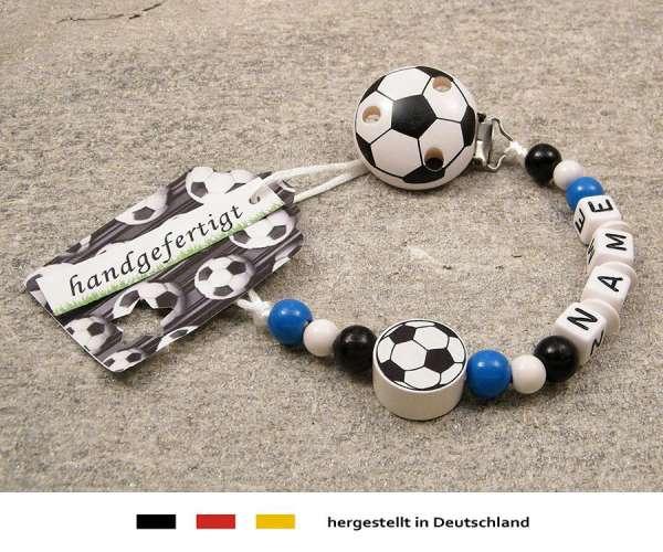 Schnullerkette mit Wunschnamen Motiv Fussball in blau, weiss, schwarz