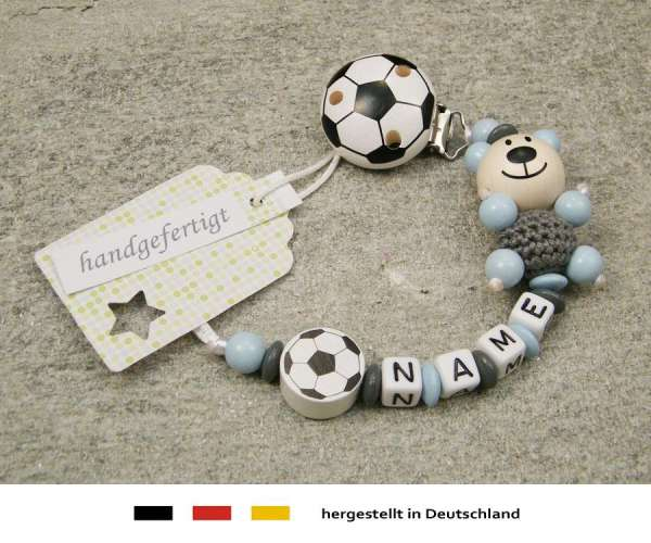 Schnullerkette mit Wunschnamen Motiv Bär und Fussball in grau