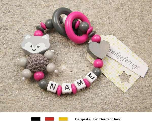 Greifling geschlossen mit Namen – Fuchs und Herz in grau pink