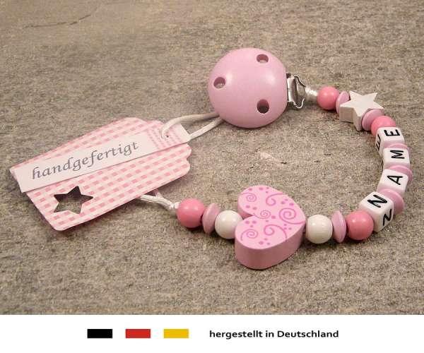 Schnullerkette mit Wunschnamen Motiv Ornament in rosa