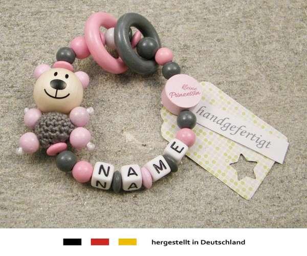 Greifling geschlossen mit Namen – Bär und Prinzessin in rosa
