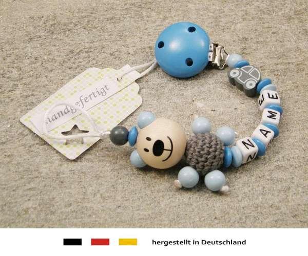 Schnullerkette mit Wunschnamen Motiv Bär und Auto in grau