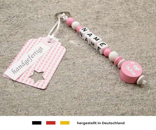 Anhänger mit Wunschnamen Motiv i love mom / dad in rosa