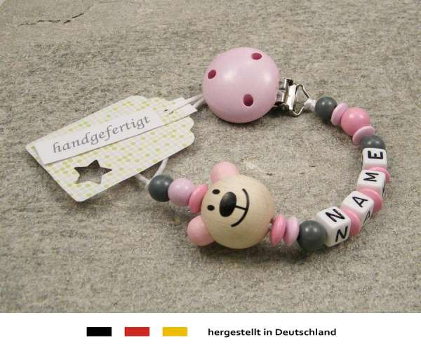 Schnullerkette mit Wunschnamen Motiv Bär in rosa