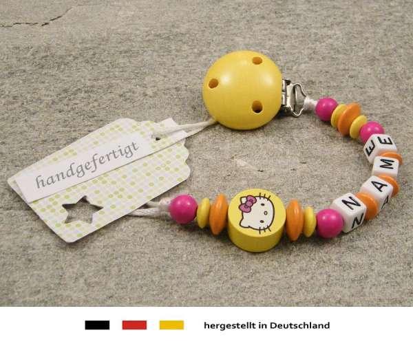 Schnullerkette mit Wunschnamen Motiv Hello Kitty in gelb, orange