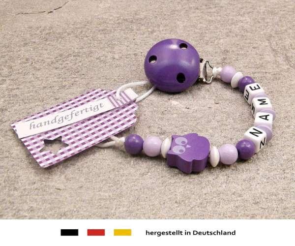 Schnullerkette mit Wunschnamen Motiv Eule in lila, flieder