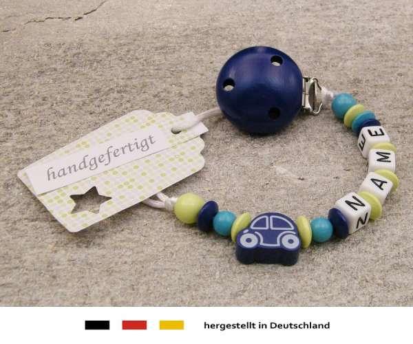 Schnullerkette mit Wunschnamen Motiv Auto in dunkelblau