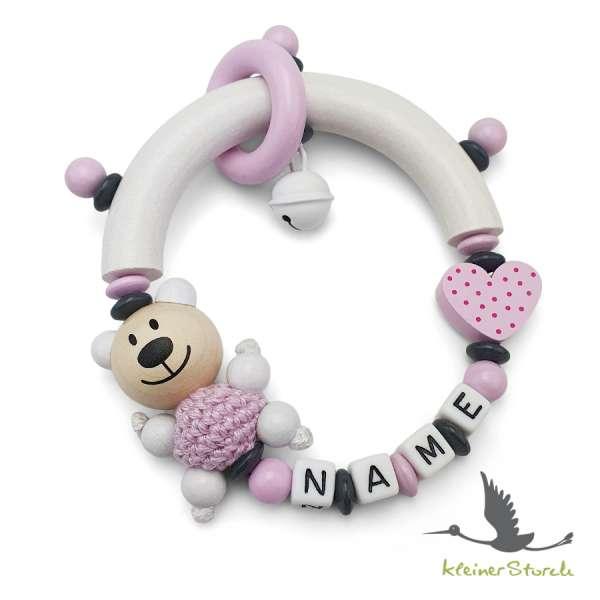 Greifling halbrund mit Namen – Bär und Gerz in rosa