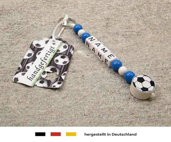 Anhänger mit Wunschnamen Motiv Fussball in blau, weiss