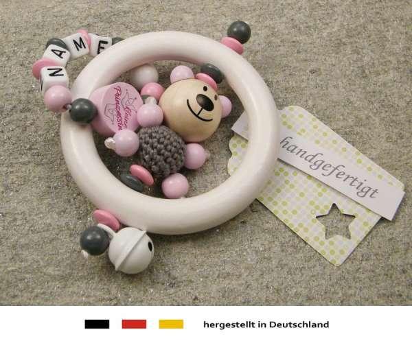 Greifling Rassel mit Namen – Bär und Prinzessin in rosa