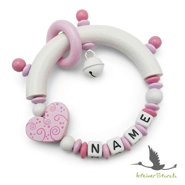 Greifling halbrund mit Namen – Ornament Herz in rosa