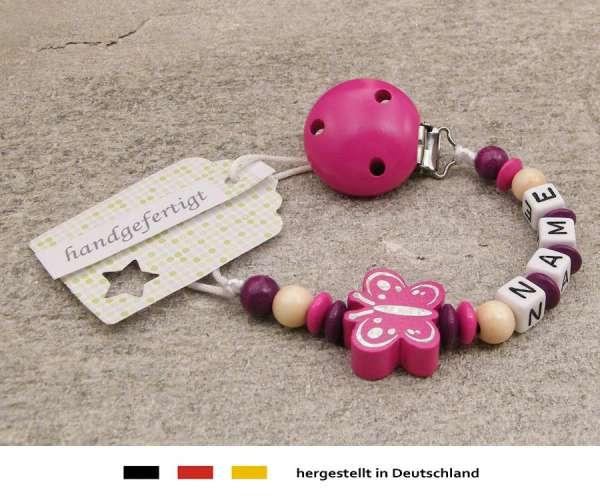 Schnullerkette mit Wunschnamen Motiv Schmetterling in pink