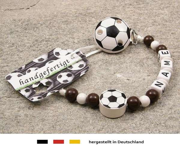 Schnullerkette mit Wunschnamen Motiv Fussball in braun, weiss