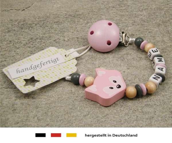 Schnullerkette mit Wunschnamen Motiv Fuchs in rosa