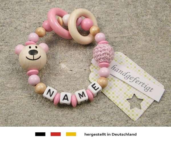Greifling geschlossen mit Namen – Bär in rosa