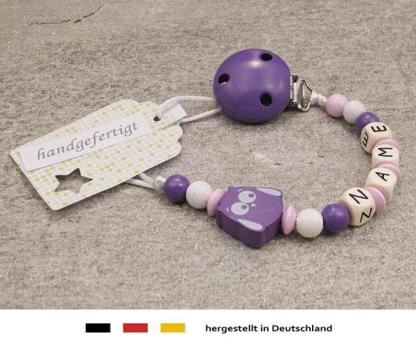 Schnullerkette mit Wunschnamen Motiv Eule in lila