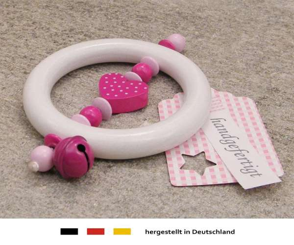 Greifling Rassel Motiv Herz in pink