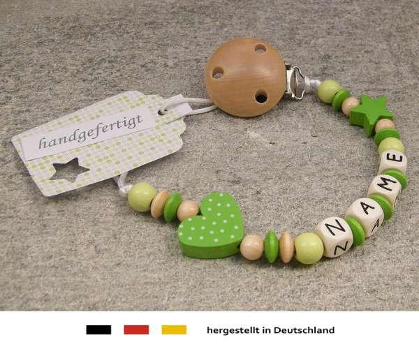 Schnullerkette mit Wunschnamen Motiv Herz in grün